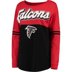 deb0c8890 Women s 5th  amp  Ocean by New Era Black Atlanta Falcons Athletic Varsity  Long Sleeve T