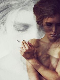 smoke curling out of her mouth looks like she's foaming at the mouth.but otherwise, beautiful. Multiple Exposure, Double Exposure, Sugarhigh Lovestoned, Smoke Art, Seen, Women Smoking, Nude Photography, Photography Ideas, At Least
