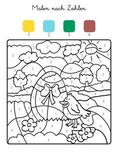 ausmalbild malen nach zahlen: ostereier ausmalen kostenlos ausdrucken   ostereier ausmalen