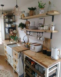 Small Cottage Kitchen, Cottage Kitchens, Home Decor Kitchen, Diy Kitchen, Kitchen Interior, Home Kitchens, Small Cottage Interiors, Ikea Kitchen Shelves, Bohemian Kitchen Decor