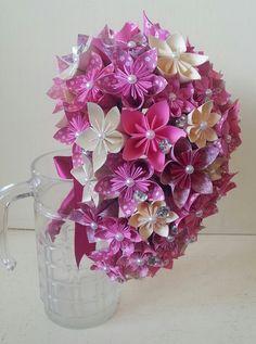 Ramo de Origami papel flores boda cristales por LilyBelleKeepsakes,