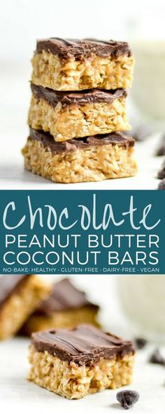 No-Bake Chocolate Peanut Butter Coconut Bars are the ultimate, easy, no-bake healthy dessert or snack! They have no gluten, dairy, or refined sugar and are vegan-friendly! #peanutbutter #bars #chocolate #dessert #coconut #vegan #glutenfree #dairyfree #refinedsugarfree via @joyfoodsunshine
