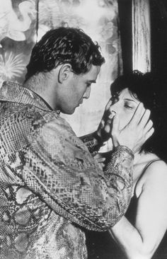 """Marlon Brando and Anna Magnani in """"The Fugitive Kind"""" - Brando is so good in this. Also stars Joanne Woodward. Old Movie Stars, Classic Movie Stars, Love Movie, Classic Movies, I Movie, Hollywood Images, Classic Hollywood, Marlon Brando, Anna Magnani"""