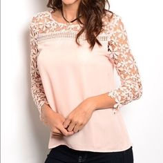 Pretty In Pink Lace Blouse Light pink blouse with lace detailing on the arms and top chest area Tops Blouses