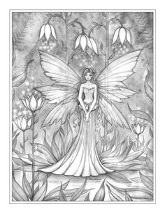 free grayscale fairy coloring page by Molly Harrison.