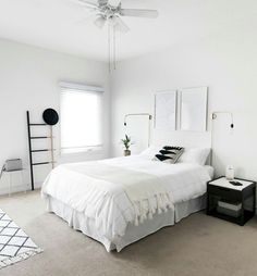 How to Achieve a Minimal Scandinavian Bedroom Tips for styling a modern and Scandinavian interior. Light and neutral monochrome bedroom. Monochrome Bedroom, Minimal Bedroom, Stylish Bedroom, White Bedroom, Modern Bedroom, Bedroom Decor, Bedroom Ideas, Clean Bedroom, Small Bedroom Designs
