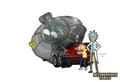 Rick and Morty go Back to the Future A3 Print