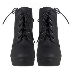 Lace Up Platform Booties ($38) ❤ liked on Polyvore featuring shoes, boots, ankle booties, heels, sapatos, platform booties, pointed toe booties, lace-up platform boots, faux leather platform booties and vegan booties