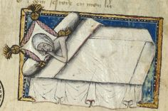 Guillaume de Deguilleville: A Pilgrimage of Life Author: Guillaume de… Medieval Life, Medieval Art, Medieval Manuscript, Illuminated Manuscript, Medieval Bedroom, Medieval Furniture, Long Pillow, Prayer Book, Bnf