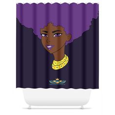 """Purple Afro Diva Shower Curtain. Add drama to your bath décor with the elegant Chocolate Ancestor Shower Curtain. The shower curtain features an intricate Purple Afro Diva design that makes a bold statement and transforms your space. Eliminate the frustration of trying to find the perfect shower curtain with our eye-catching, machine washable bathroom accessories. Available in two sizes. Shower yourself in beauty. Details: Sizes 71X74"""" Material or Use Poly printed shower..."""