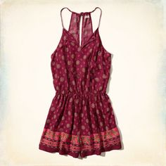 Patterned Peasant Romper, red burgundy $49.95 | Hollister