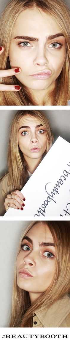 Cara Delevigne in the #BeautyBooth at the Burberry Prorsum Autumn/Winter 2013 show