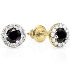 Share 0.60 Carat (ctw) 14K Yellow Gold Real Round Cut Black & White Diamond Ladies Cluster Stud Earrings - Dazzling Rock #https://www.pinterest.com/dazzlingrock/