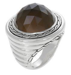 John Hardy Batu Bedeg Silver Round Ring with Smoky Quartz Smoky Topaz, Smokey Quartz, John Hardy, Silver Rounds, Rings, Jewelry, Jewlery, Jewerly, Ring