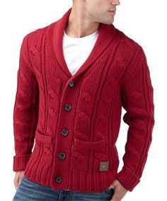 Joe Browns Luxury Cable Shawl Cardi - a proper hand knit effect chunky cable. Very versatile and wearable in Vintage Red