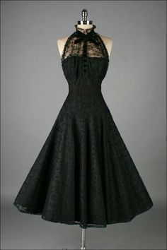 1950s Paul Sachs Black Tuxedo Lace Cocktail Dress