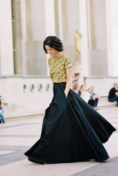 long flowy skirt and tucked in top. With my height and shape, this would probably be awesome.