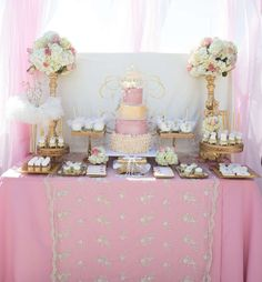 Gorgeous pink and gold baptism party! See more party ideas at CatchMyParty.com!