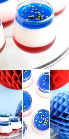 Patriotic Panna Cotta Shooters   Click Pic for 35 Easy 4th of July Dessert Recipes for a Crowd   Easy 4th of July Desserts for Kids to Make