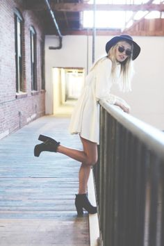 Cute summer look. Ankle boots, loose white dress, chunky sunglasses and black fedora: http://asos.do/yj5bgo