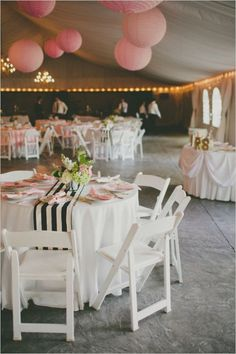 Wedding Reception backyard tent wedding reception ideas - love everything except for that awful striped runner - Elegant Pink and Gold Wedding at Stonebridge Manor photographed by Cami Takes Photos and filmed by Vanessa Dunn. Diy Party Tent, Diy Tent, Tent Parties, Diy Wedding, Wedding Reception, Wedding Day, Wedding Tables, Tent Reception, Wedding Tips