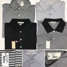825905d42 My Peter Millar Grey Black White Cotton Golf Polo Shirts Size M (Individual  Sales)