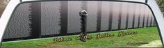 Vietnam Fallen Soldiers Memorial Wall with Rifle, Boots and Tags.