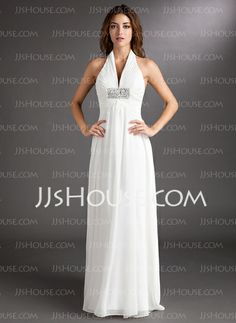 Wedding Dresses - $126.99 - A-Line/Princess Halter Court Train Chiffon Wedding Dress With Ruffle Beadwork (002011438) http://jjshouse.com/A-Line-Princess-Halter-Court-Train-Chiffon-Wedding-Dress-With-Ruffle-Beadwork-002011438-g11438