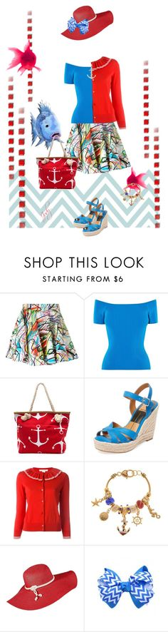 """""""Red, White, Blue- Under the Sea"""" by judymjohnson ❤ liked on Polyvore featuring Jeremy Scott, Karen Millen, Dolce Vita, Marc Jacobs, Kim Rogers and Katie Mullally"""