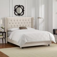 Skyline Furniture Linen Talc Diamond Tufted Wingback Nail Bed