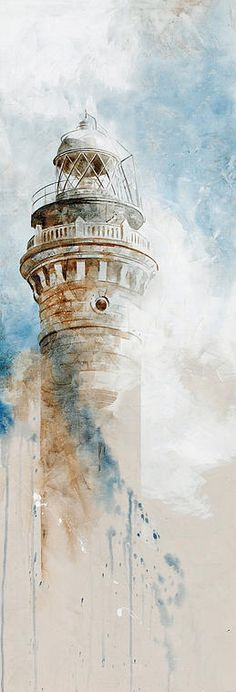 Nono garcía - lighthouse - mixed meda on canva Lighthouse Painting, Art Watercolor, Watercolor Architecture, Nautical Art, Belle Photo, Painting & Drawing, Amazing Art, Cool Art, Art Photography
