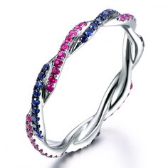 Natural red ruby&blue sapphire weddign band,solid 14k white gold engagement ring,custom ring