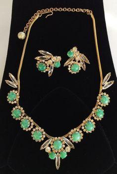 Vintage Juliana D&E BookPiece Set Necklace Earrings Parure~Green/Clear/Goldtone  #JulianaDE
