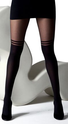 double stripe mock knee high tights