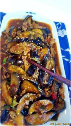 중국식 가지요리어향가지볶음 만들기 식이섬유가 풍부하고, 폴리페놀이 풍부한 가지항산화 물질이 가득하고... K Food, Food Menu, Cooking Recipes For Dinner, No Cook Meals, Asian Cooking, Easy Cooking, Food Design, Best Korean Food, Korean Dishes