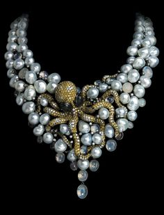 Gorgeous Pearl Necklace with Sea life....Statement Piece