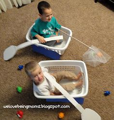 laundry basket boats with paddles!