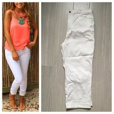 White Stretch Ankle Pants Cute white ankle/crop pants with subtle flower embroidery at bottom. Stretch fit! 98% cotton 2% spandex. First photo on left not actual item*showing for style! Billblass Jeans Pants Ankle & Cropped