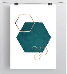 Teal Printable Art Hexagon Print Teal Print Gold Rose Art
