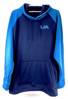 432698cd1e04b0 Under Armour Mens Fleece Hoodie Blue Colorblock Loose Fit Big   Tall Size  4XLT  Underarmour  Hoodie