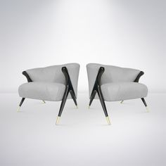 Pair of Modernist Karpen Lounge Chairs, 1950s | From a unique collection of antique and modern lounge chairs at https://www.1stdibs.com/furniture/seating/lounge-chairs/