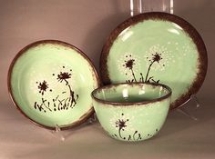 Dandelion mint green dinnerware set of by BelvedereCeramicArts