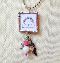 Buy Girly Purse Soldered Charm Necklace by concoctionsinc. Explore more products on http://concoctionsinc.etsy.com