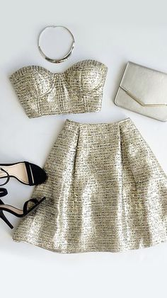 Crop Top and Skirt Gold