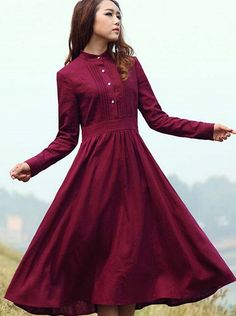 Buy Vintage Burgundy High Neck Long Sleeves Maxi Dress Maxi Dresses under US$ 23.99 only in SimpleDress.