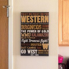 Vandy colors.....Hey, I found this really awesome Etsy listing at https://www.etsy.com/listing/162408060/western-michigan-university-typography