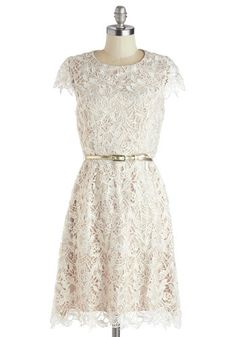 All About Evening Dress. Youve been counting down to this evenings gala for weeks, and you can hardly wait to zip into this lace dress, as featured on glamour.com, after the clock strikes 5 o'clock! #white #bride #weddingNaN
