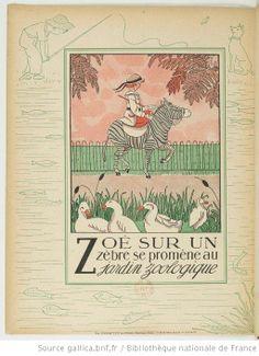 Z - Alphabet en images... / Marie-Madeleine Franc-Nohain - Zoé sur un Zèbre se promène au jardin zoologique