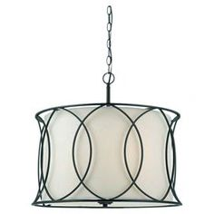 "An eye-catching addition to your dining room or entryway, this openwork metal pendant showcases an oil-rubbed bronze finish and white shade.  Product: PendantConstruction Material: Metal and fabricColor: White and oil-rubbed bronzeAccommodates: (3) 100 Watt type A bulbs - not includedDimensions: 17.5"" H x 20.5"" Diameter"