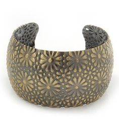 Brushed Gun Metal 'Daisy Droplets' Silhouette Cuff Bracelet - up to 18cm Length Avalaya. $9.90. Occasion: club night out, casual wear. Theme: floral. Type: hammered. Metal Finish: bronze. Wear On: wrist
